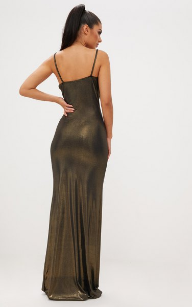 bronze spaghetti strap floor length tube dress