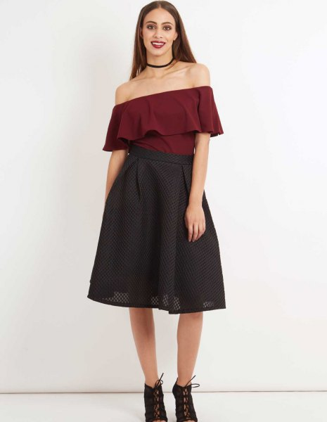 burgundy off the shoulder ruffle blouse with black mesh midi skirt