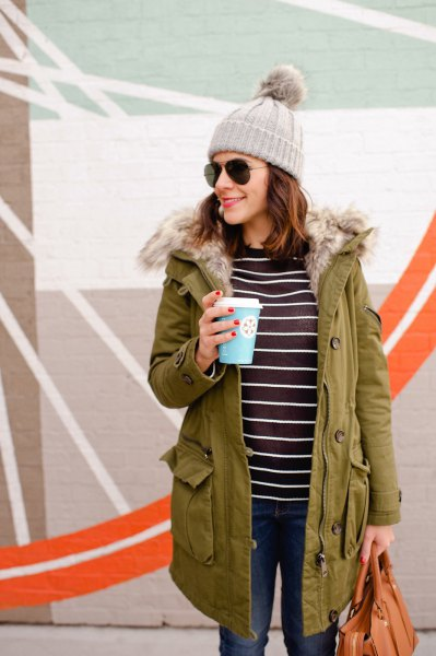 camel fur lined parka coat with black and white striped tee