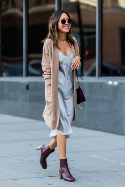 camel long cardigan with grey silk midi slip dress