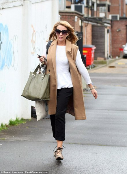 camel long coat with white long sleeve tee