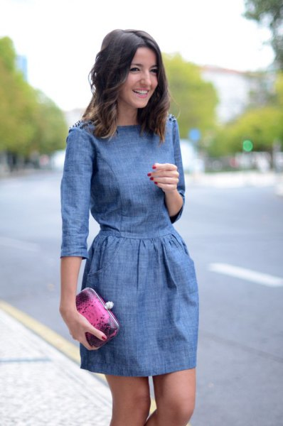 chambray three quarter sleeve mini gathered waist dress