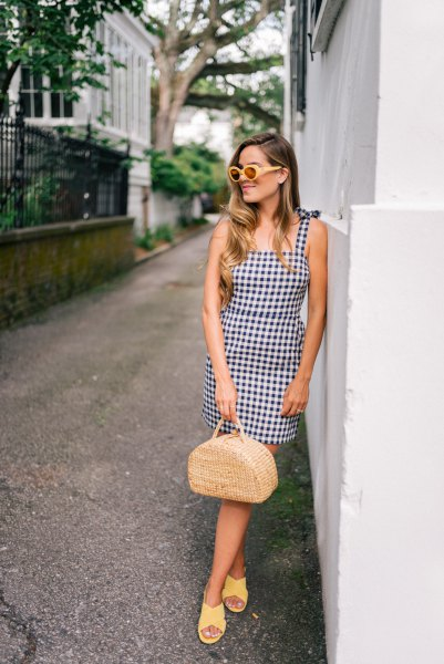 checkered mini fit and flared suspender dress