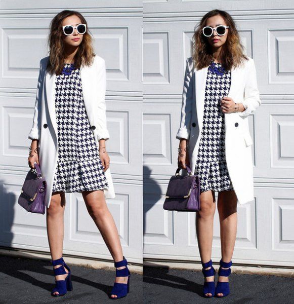 checkered mini ruffle hem dress with white long coat