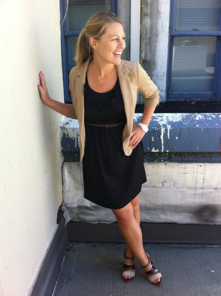 crepe blazer with black belted sundress