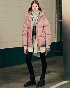 crepe bubble coat with turtleneck knit sweater