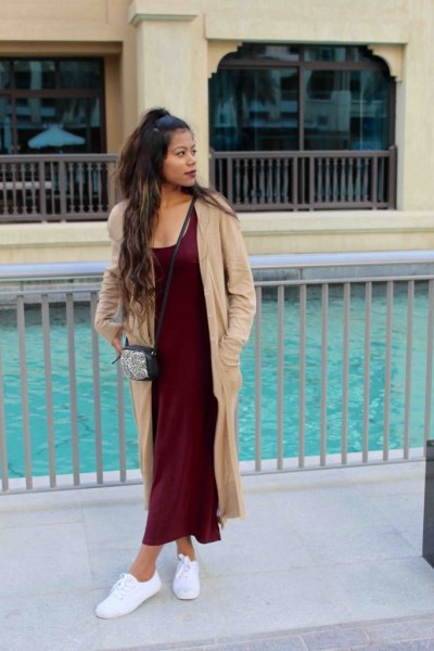 crepe maxi cardigan with black long shift dress