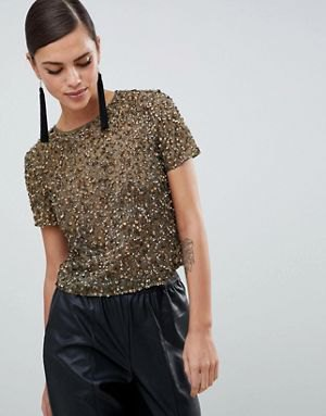 crepe sequin tee with black faux leather maxi skirt
