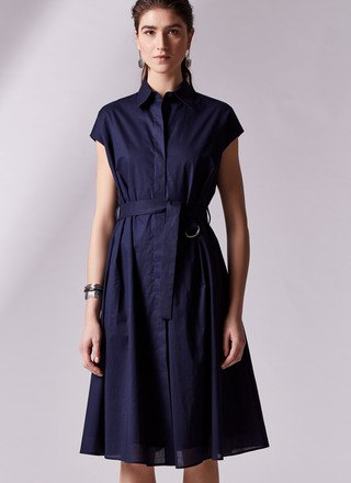 dark blue belted cap sleeve button up flared midi dress
