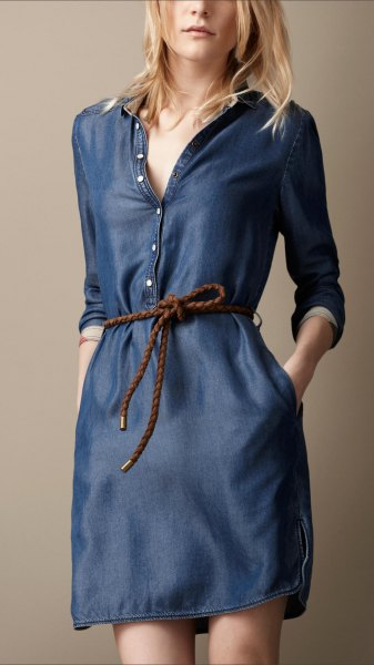 dark blue button front long sleeve unwashed denim tunic