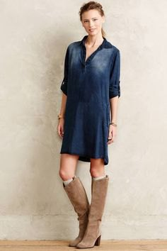 dark blue half sleeve tunic with camel suede knee high boots