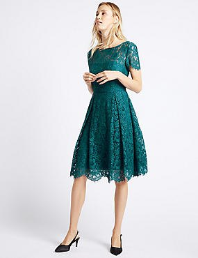 dark teal short sleeve midi flared lace dress