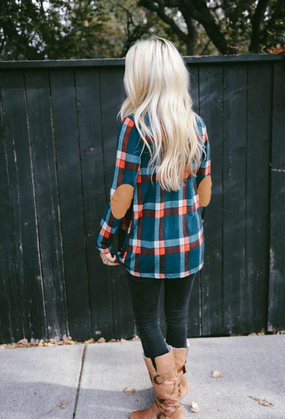 elbow patch shirt plaid