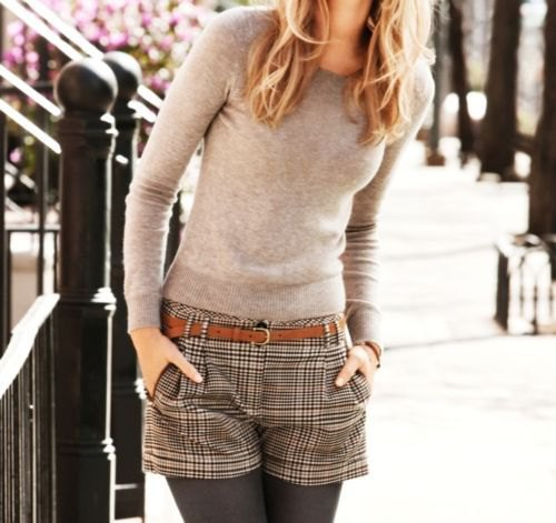 fitted knit sweater with black and grey plaid shorts