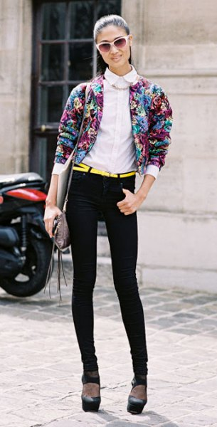 floral bomber jacket with white collar shirt skinny jeans