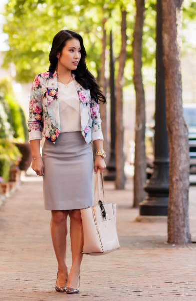 floral printed cropped blazer with pink pencil skirt