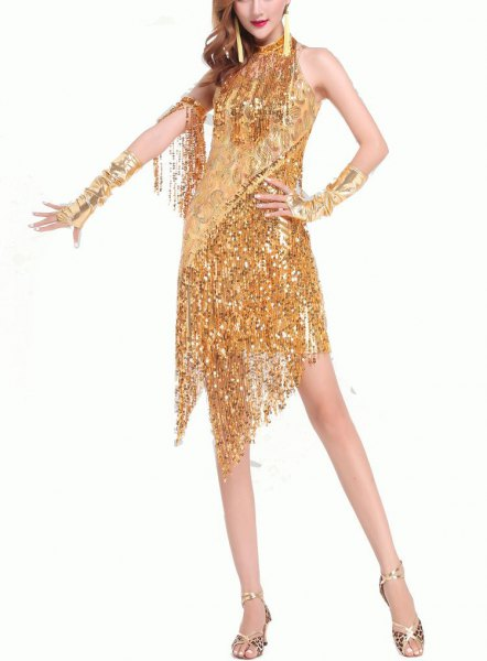 gold sequin fringe gatsby style mini dress