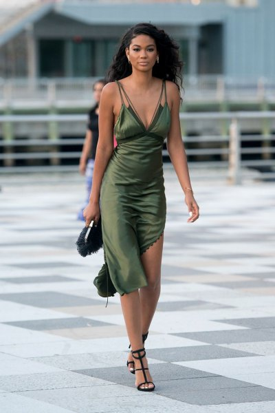 green asymmetric midi silk slip dress with strappy open toe heels
