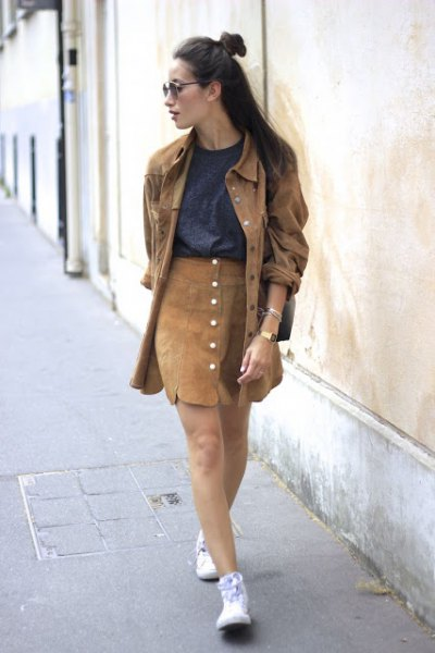green long denim jacket with orange suede button down skirt