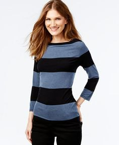 grey and black wide striped long sleeve top with skinny jeans