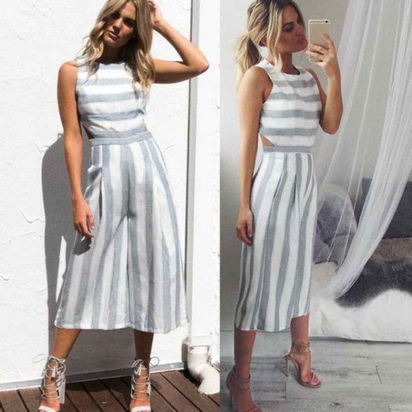 grey and white striped sleeveless top with matching cropped wide leg pants