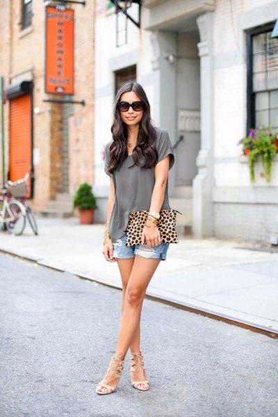 grey chiffon blouse with boyfriend denim shorts
