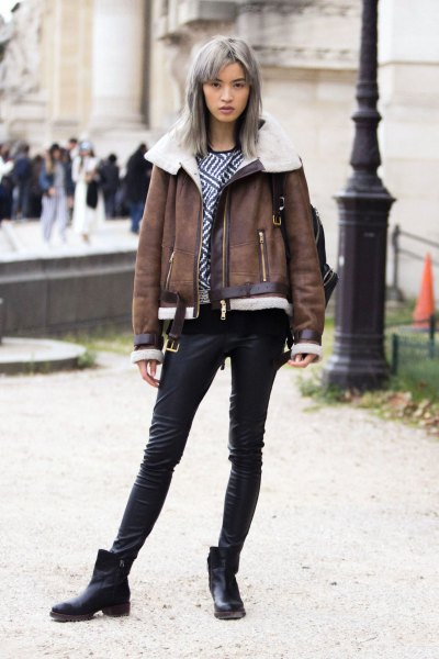 grey faux fur collar leather jacket with short leather boots
