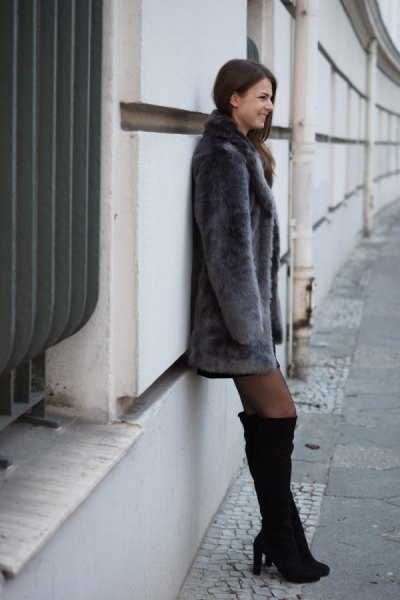 grey faux fur dress coat with black over the knee boots