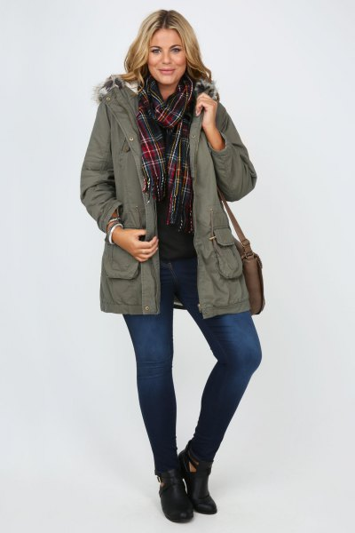 grey fur lined parka coat with black shirt and plaid scarf