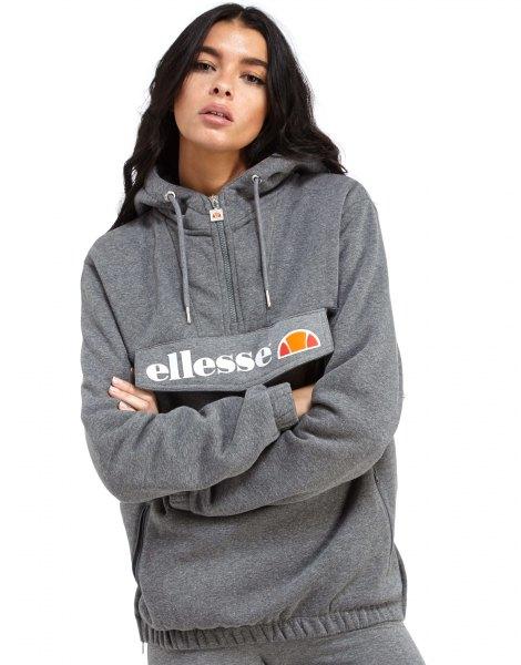 grey half zip printed hoodie with jogger pants