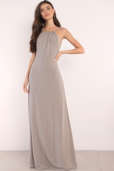 grey halter chiffon maxi dress