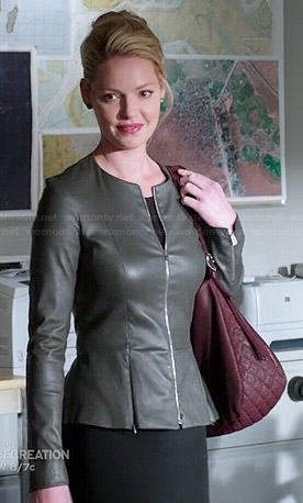 grey leather jacket with black sheath midi dress