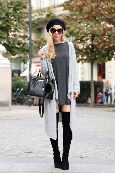 grey maxi duster sweater with mini shift dress