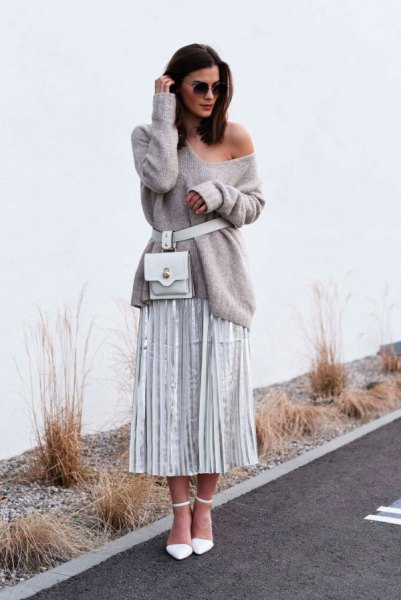 grey one shoulder belted sweater with pleated midi skirt