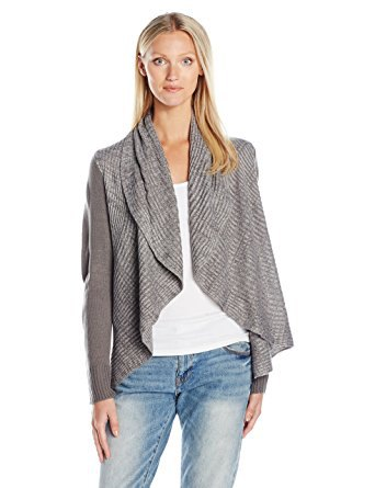 grey ribbed shawl collar sweater with boyfriend jeans