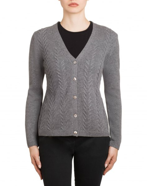 grey textured v neck cardigan with black skinny jeans