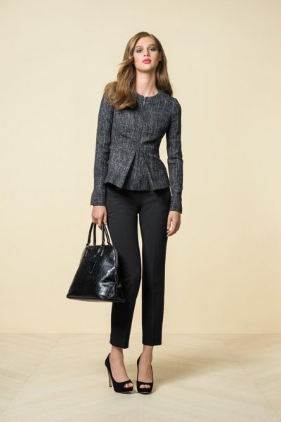 grey tweed peplum blazer with black cropped chinos