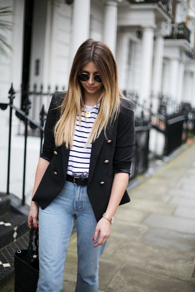 half sleeve blazer with black and white striped t shirt