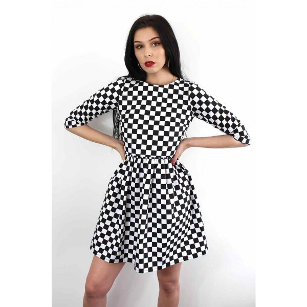 half sleeve checkered fit and flare mini dress
