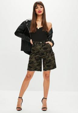 high waisted camo shorts with black leather bomber jacket