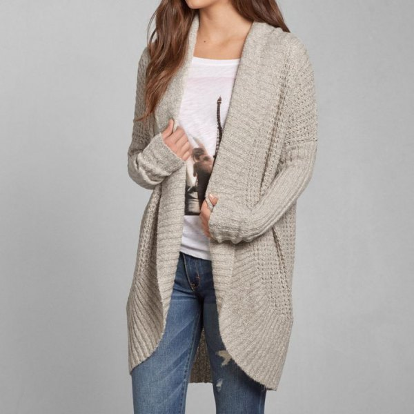 ivory long shawl collar sweater with white print tee
