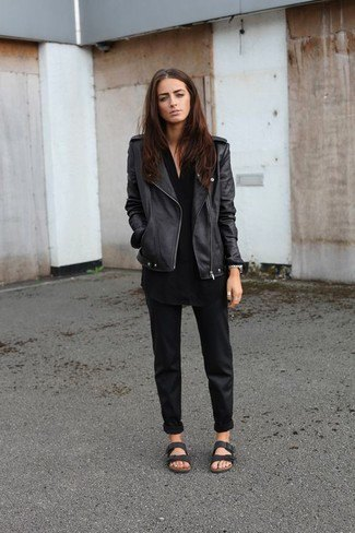 leather jacket with black shirt and chinos