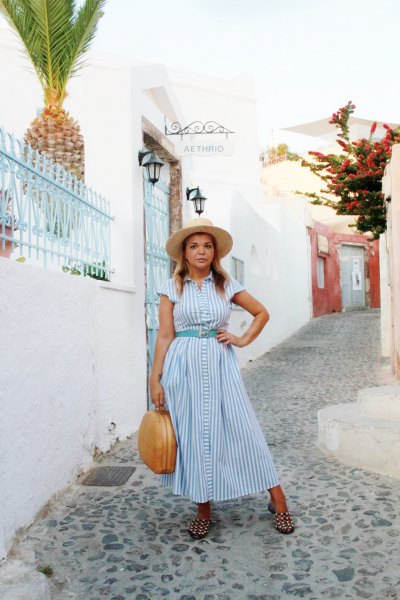light blue and white striped maxi button up dress with matching belt