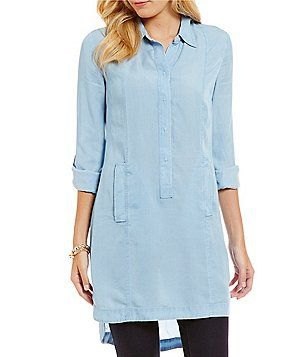 light blue button up tunic with black leggings
