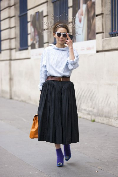 light blue cowl neck blouse with black maxi pleated skirt