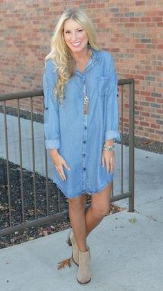 light blue long sleeve denim shirt dress