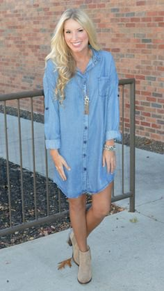 light blue long sleeve denim shirt dress