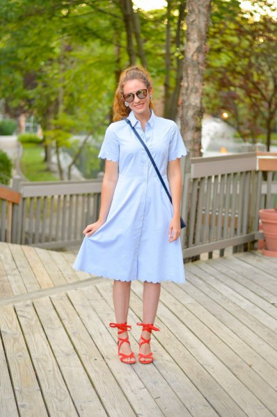 light blue scalloped sleeve and hem shirt dress