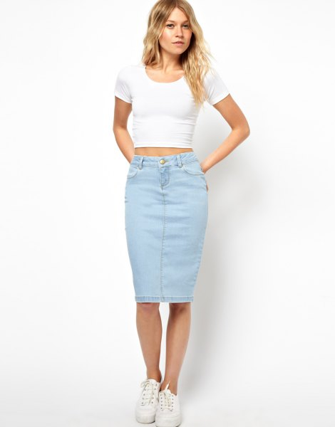 light blue skirt with white form fitting cropped t shirt