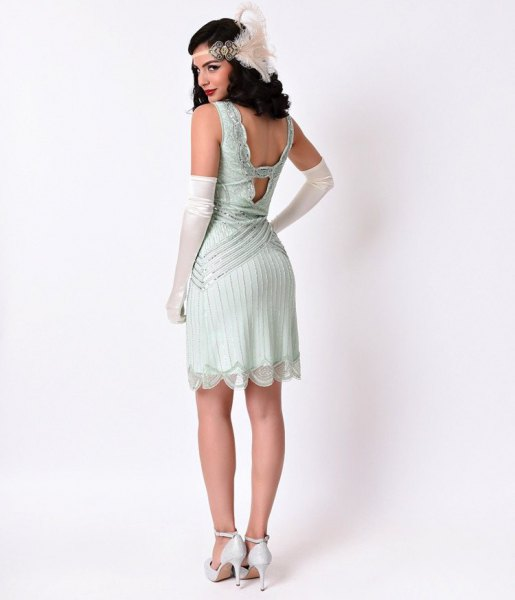 low back flapper dress with white heels